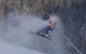 Skilift bleibt an Schneekanone stehen