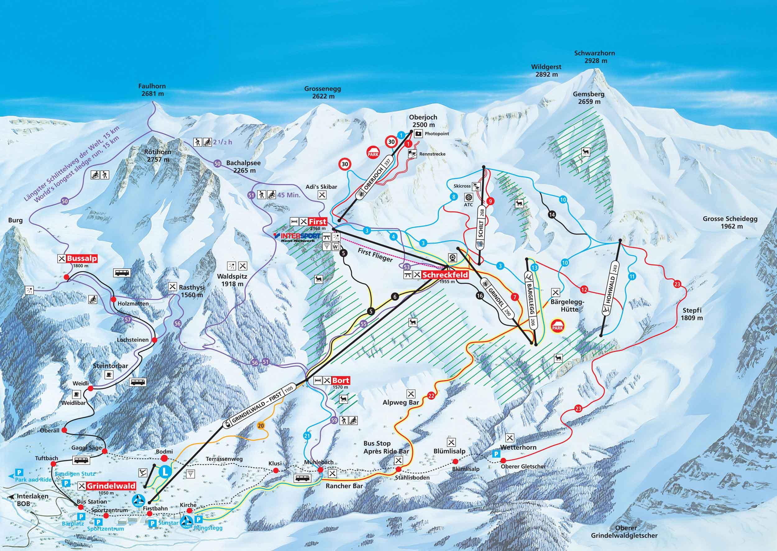 Ski Map Jungfrau Region Switzerland