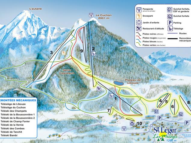 Plan des pistes saint l ger les m l zes france - Office du tourisme st leger les melezes ...