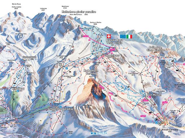 Pistenplan Zermatt-Matterhorn (Schweiz)