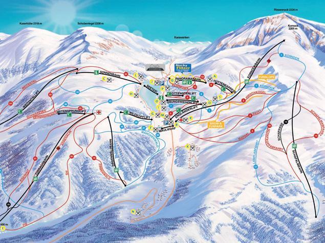 Pistenplan turracher h he sterreich for Turracher hohe skigebiet