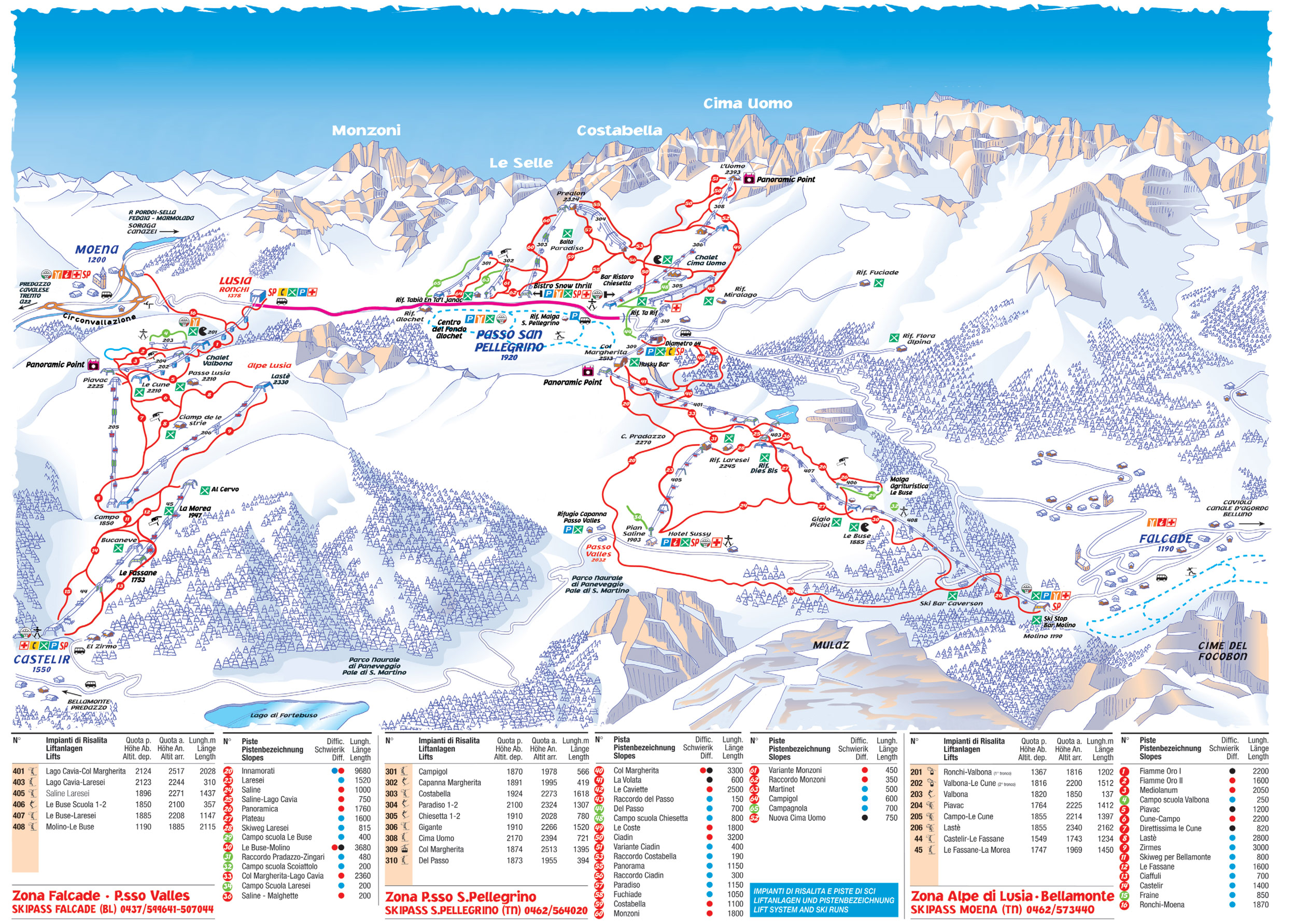 ski map tre valli italy