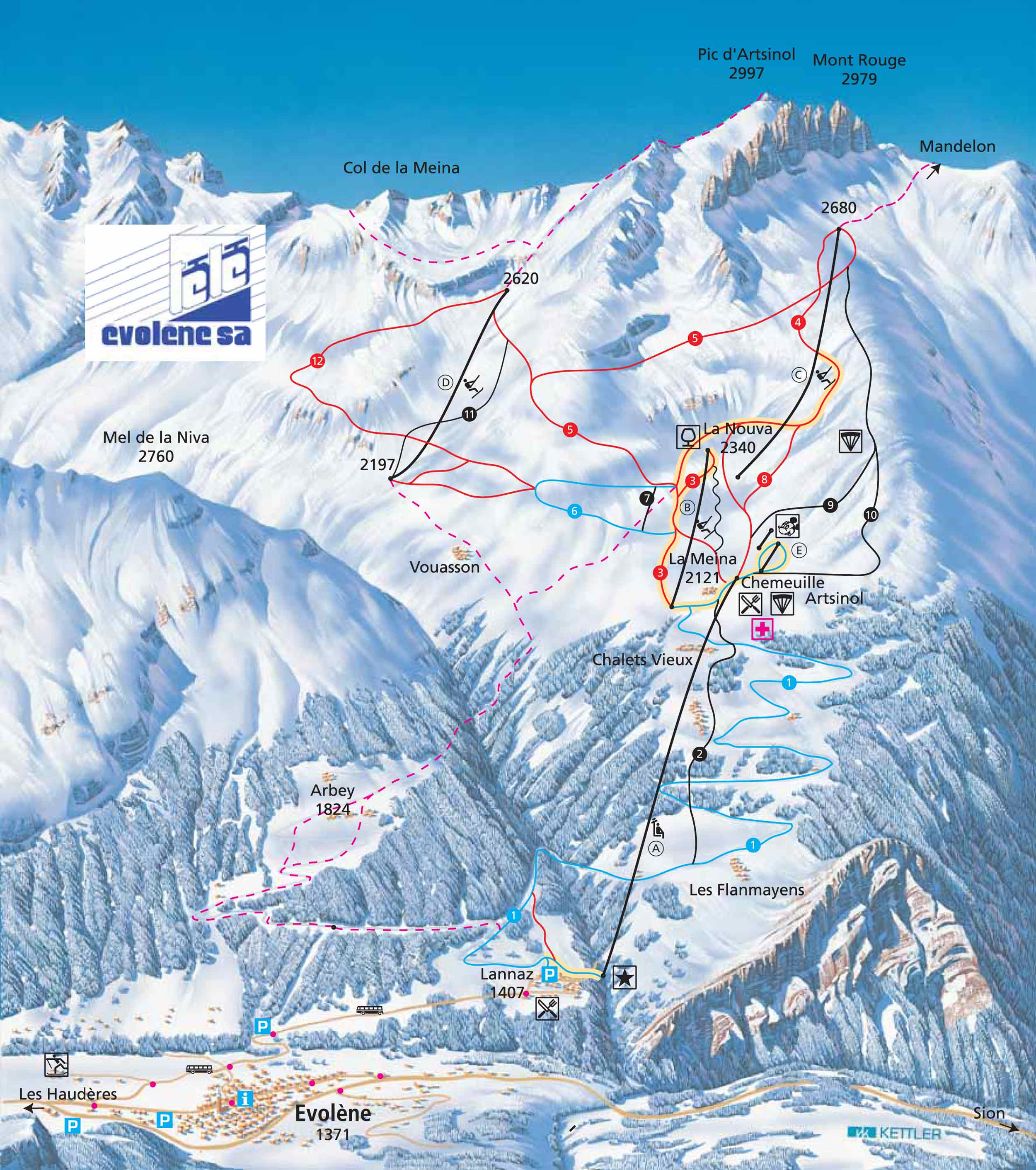 Ski map Val dHerens Switzerland