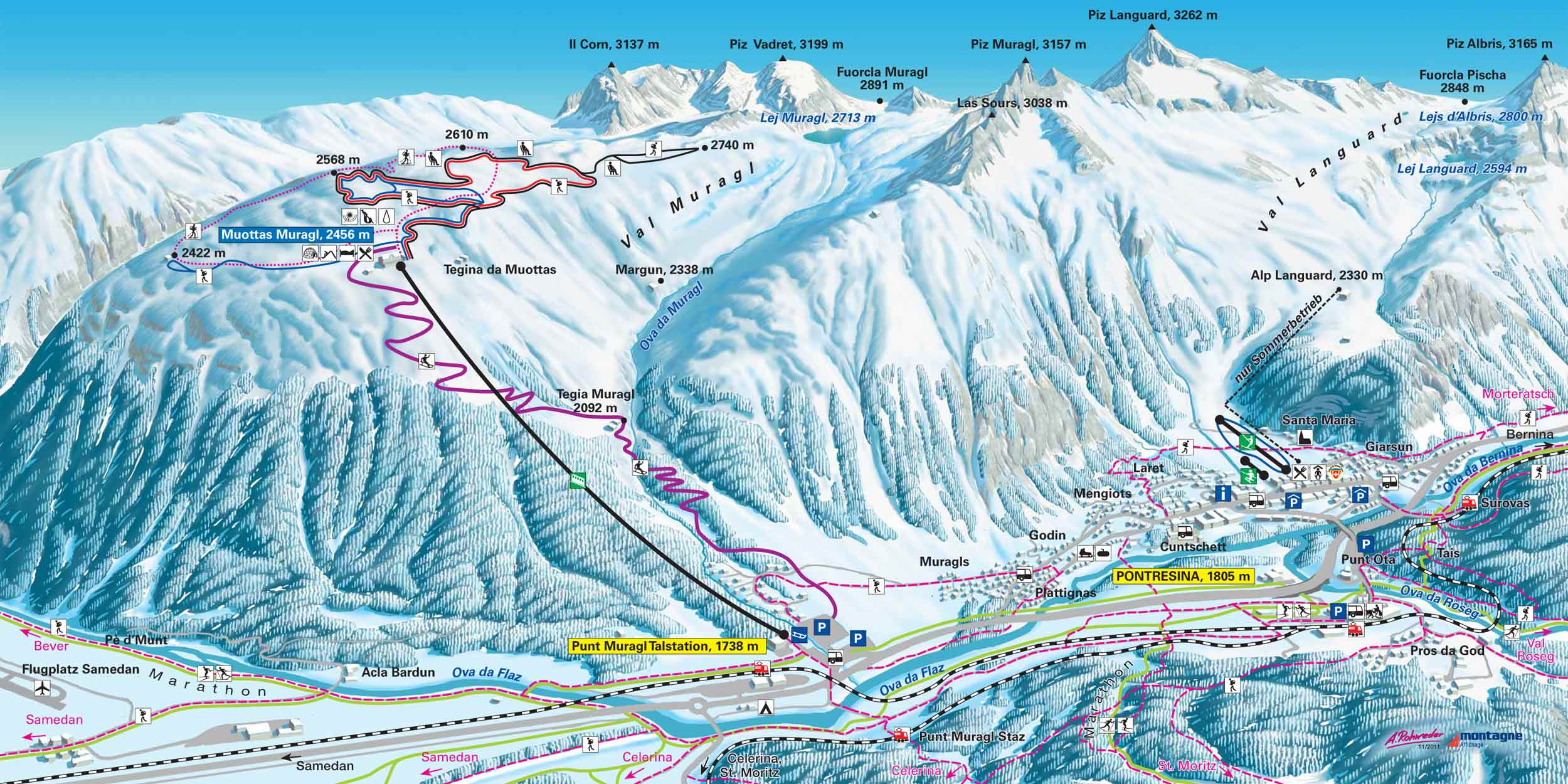 ski map engadin st. moritz (switzerland)