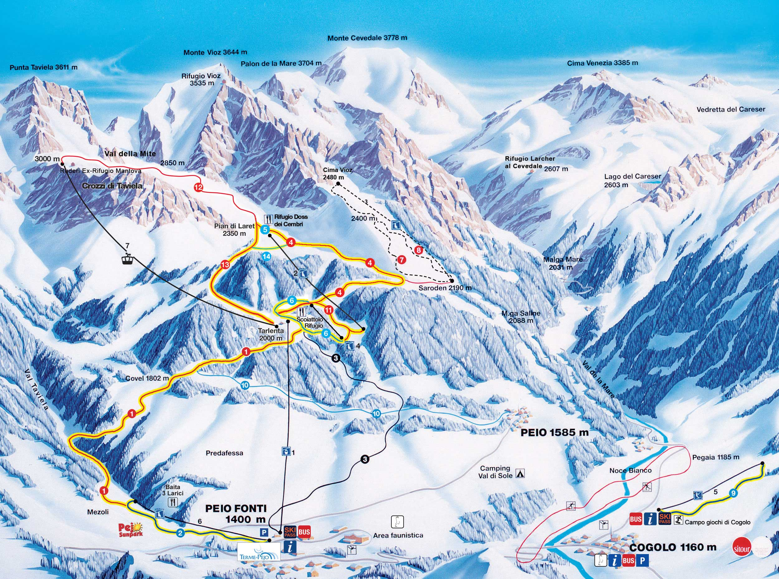 Ski map Val di Sole Italy