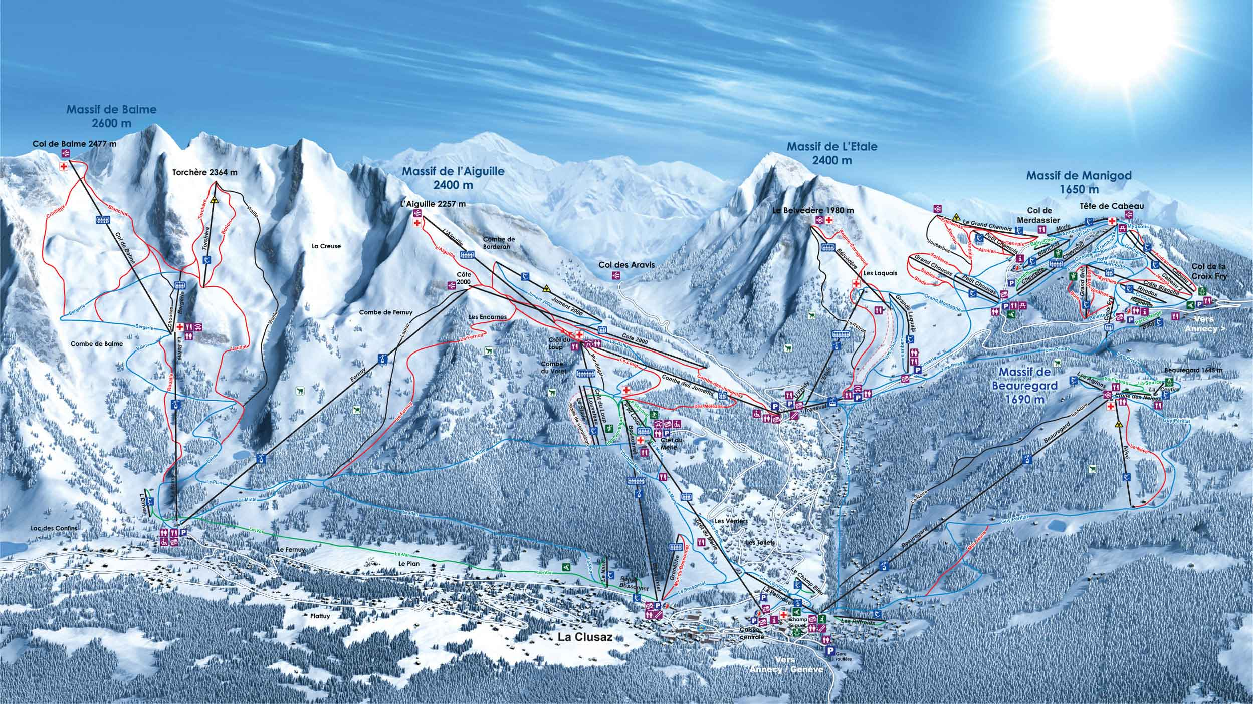 Ski map massif des aravis france for Piste de ski interieur