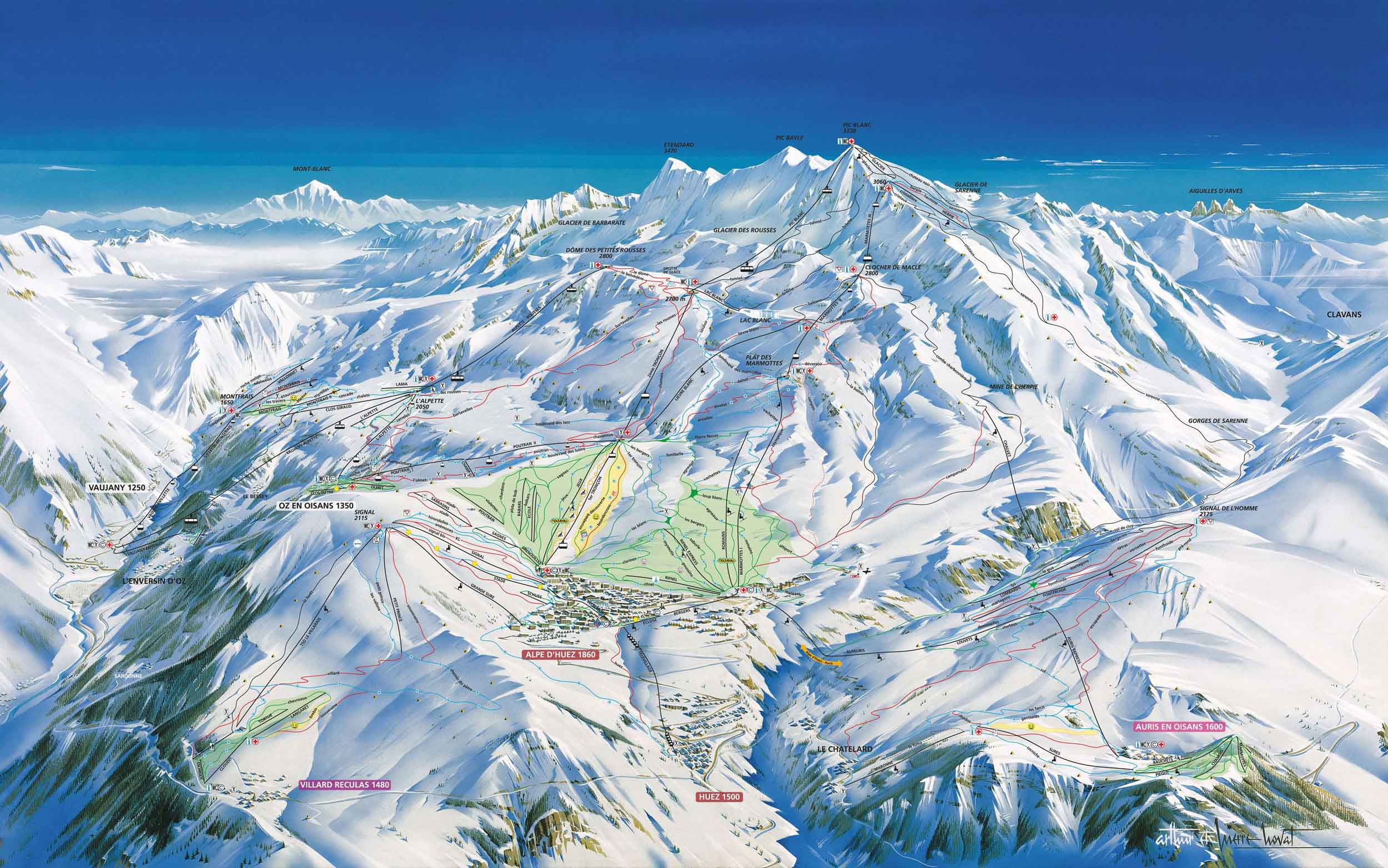 Ski map Alpe dHuez France