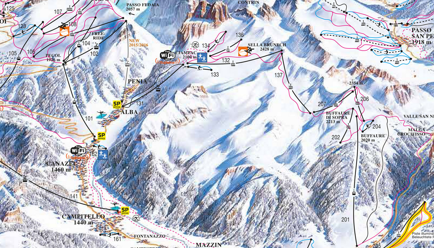 Ski map Val di FassaCarezza Italy