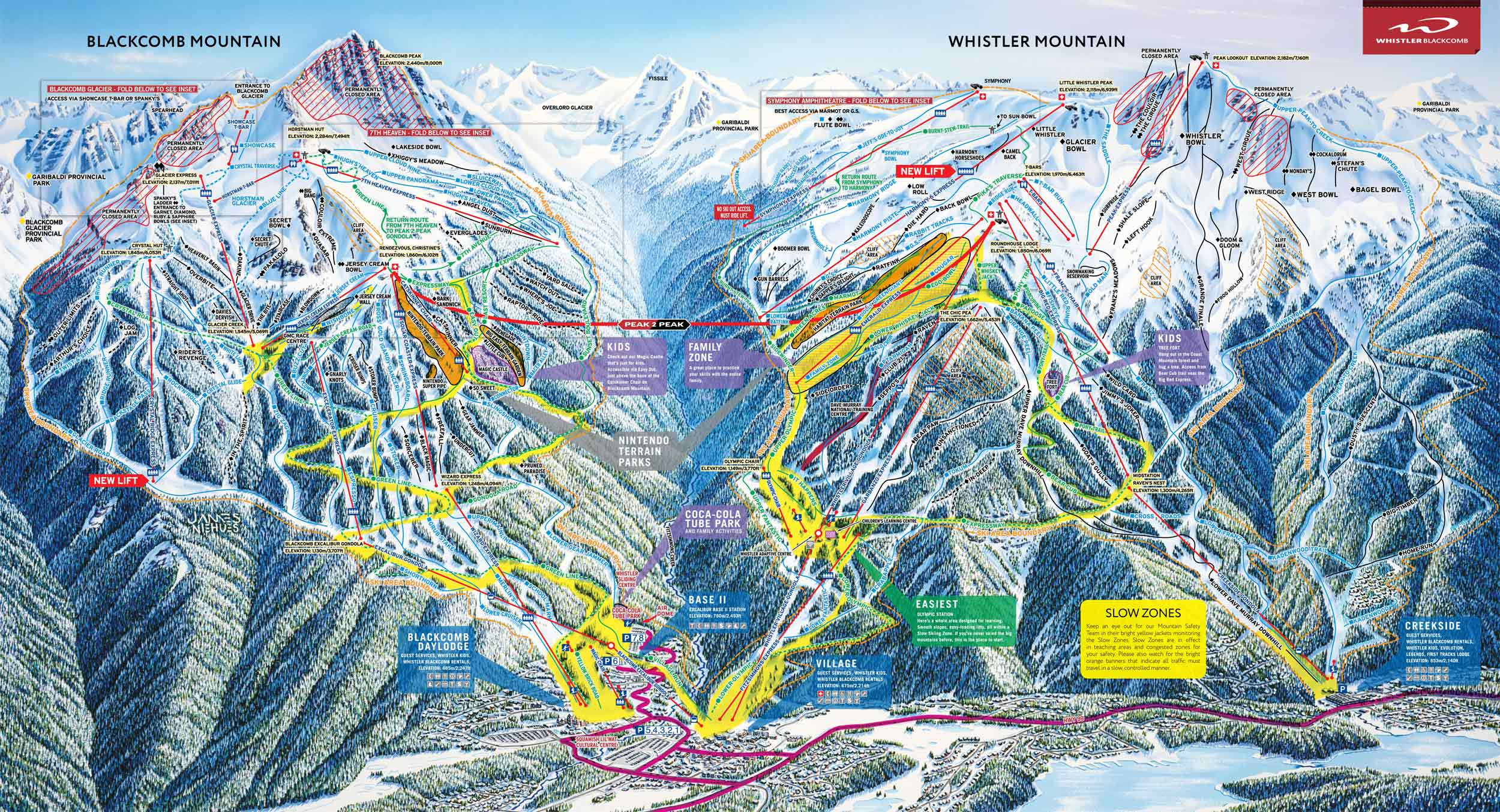 ski map whistler blackcomb (canada)