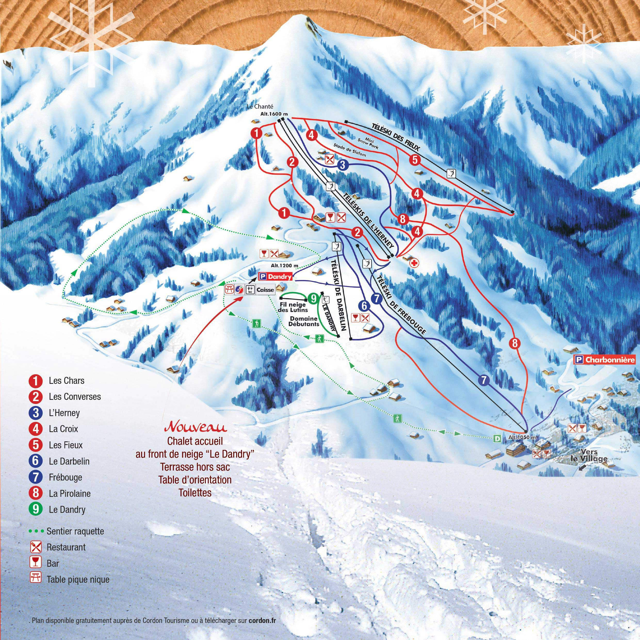 Plan des pistes cordon france for Piste de ski interieur
