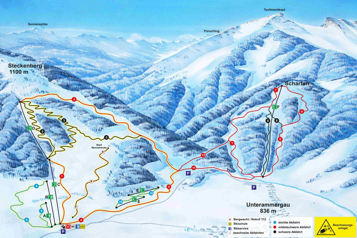 ski map ammergauer alpen (germany)