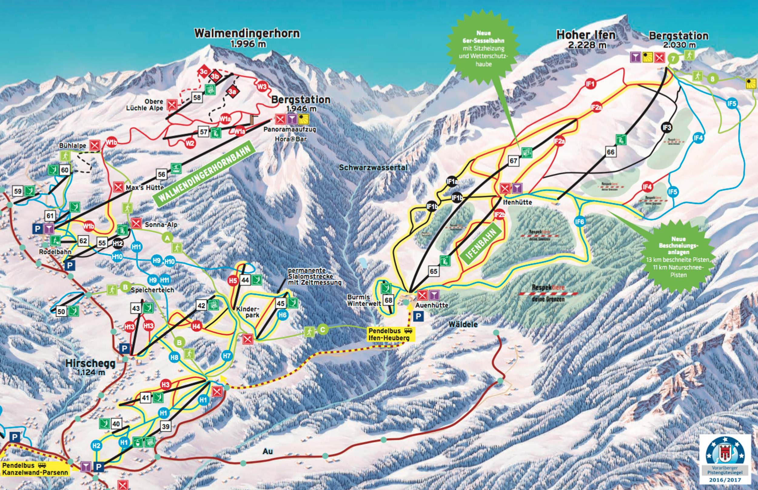 Ski map Kleinwalsertal Oberstdorf Germany