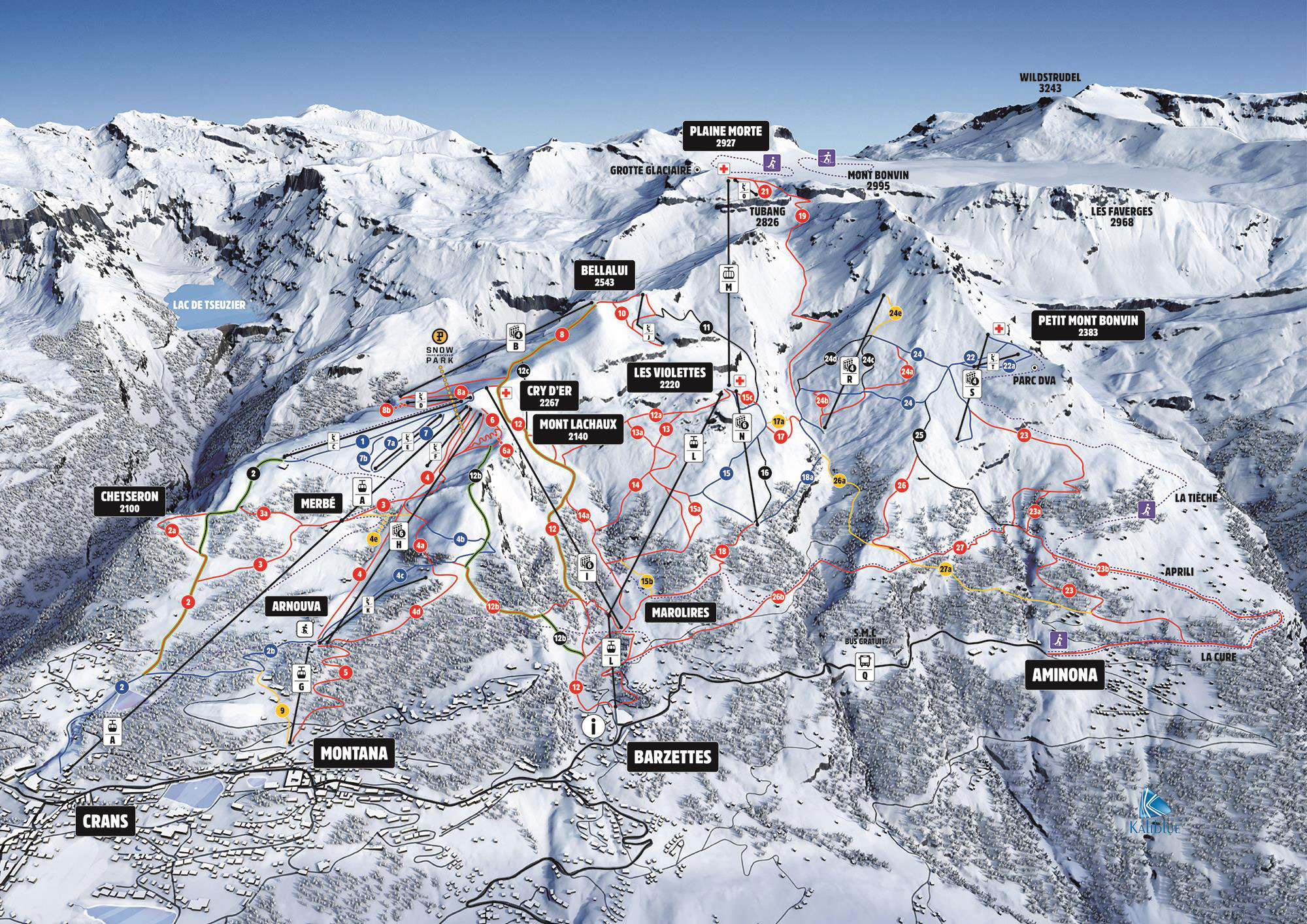 Ski map CransMontana Switzerland
