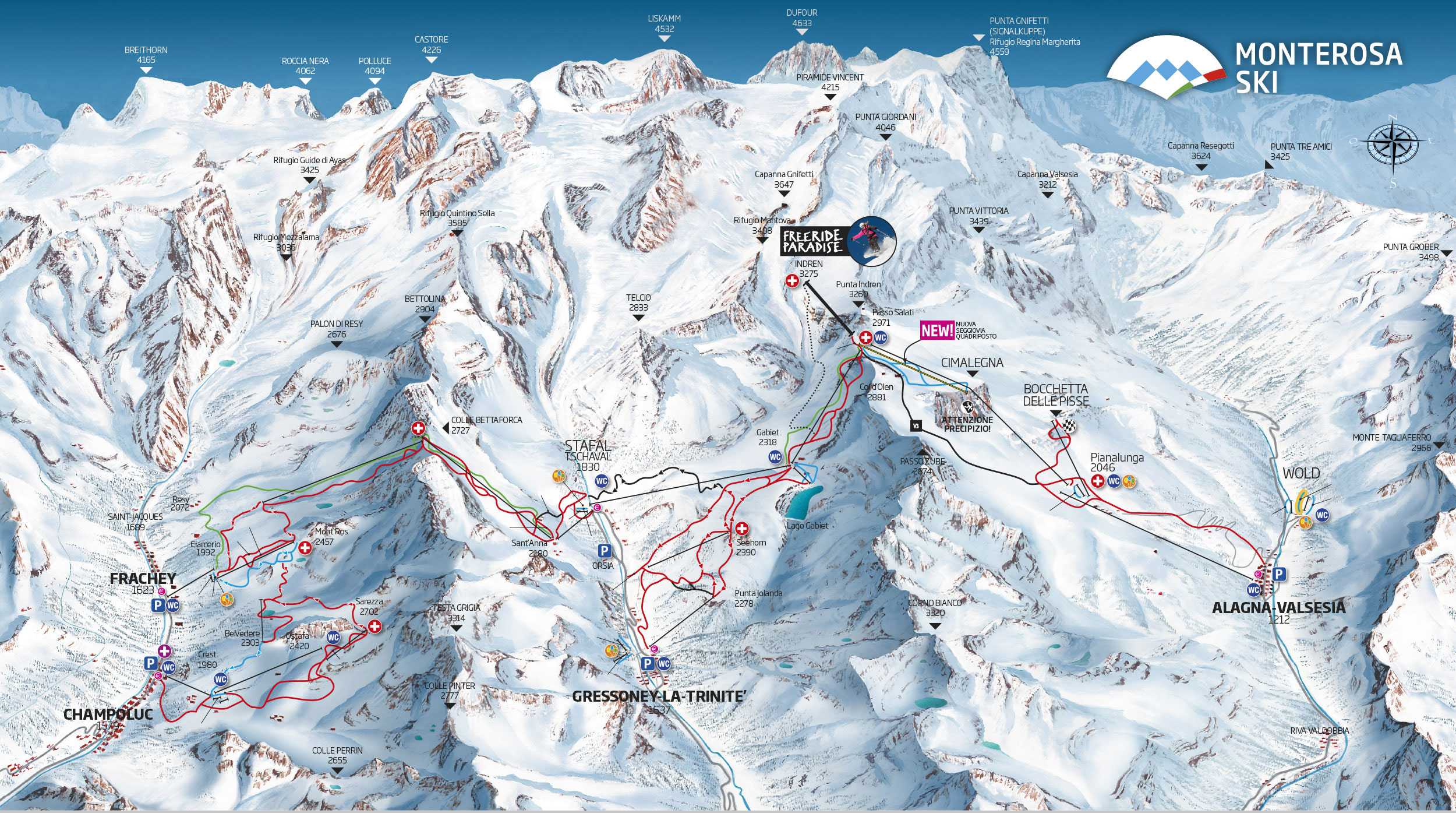 Ski map monte rosa italy for Montre rosra