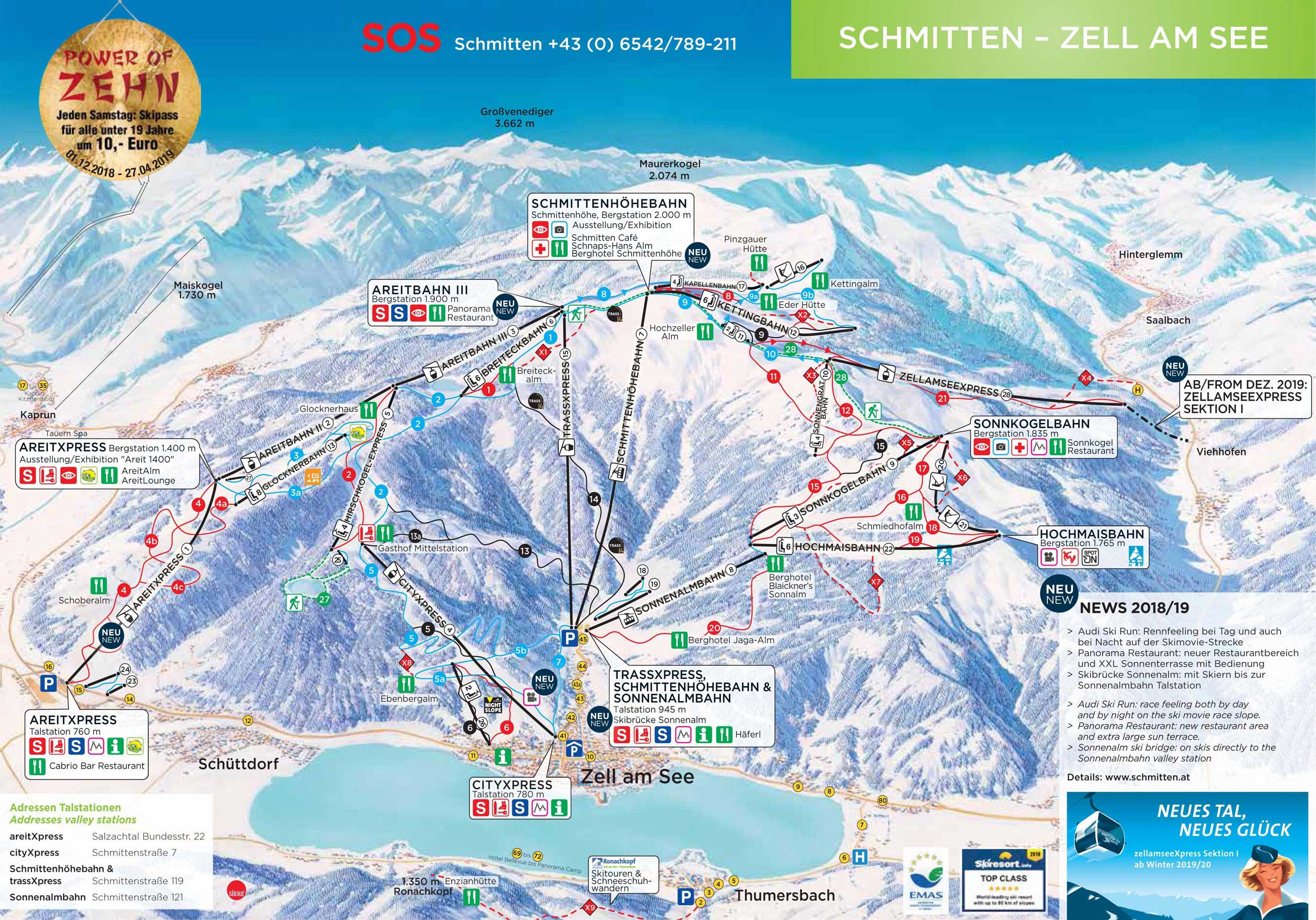 ski map zell am see - kaprun (austria)