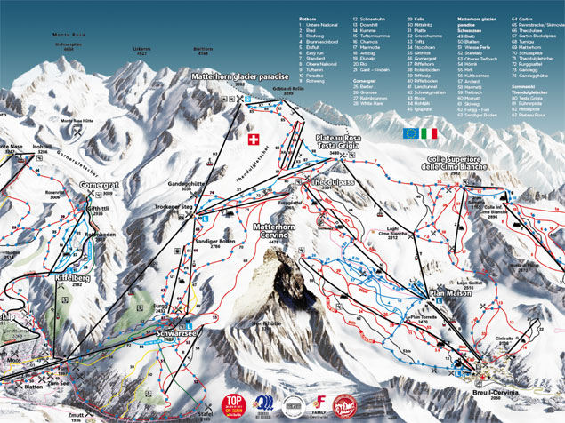 Ski map breuil cervinia italy for Piste de ski interieur