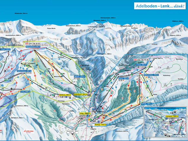 Ski map AdelbodenFrutigenLenk Switzerland